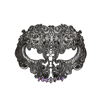 BLACK LACE SKULL MASK DECORATED WITH STRASS & GEMS