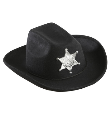 BLACK COWBOY HAT W/SHERIFF STAR - CHILD SIZE