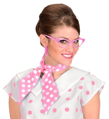 DOTTED NECK SASH SATIN  pink with white dots