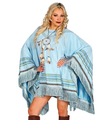 HEAVY FABRIC SUEDELOOK PONCHO - AZURE (1Size)
