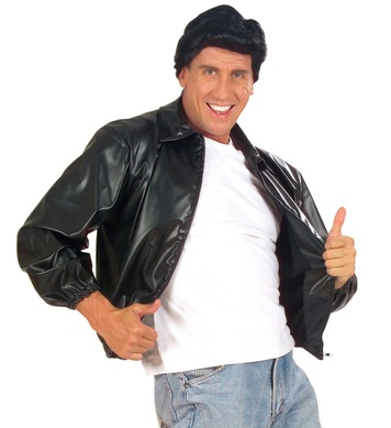 50s MENS BLACK JACKET - LEATHERLOOK
