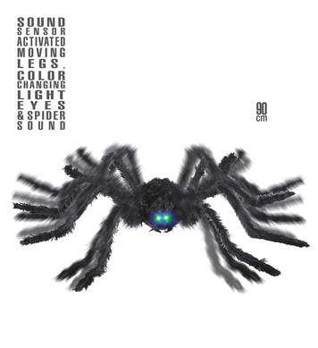 ANIMATED BLACK SPIDER WITH MOVING LEGS LIGHT EYES SOUND 90cm