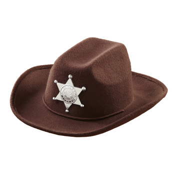 BROWN COWBOY HAT W/SHERIFF STAR - CHILD SIZE