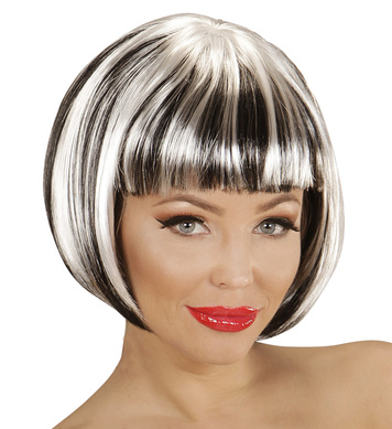 BLACK-WHITE FASHION STREAKS WIG in polybag