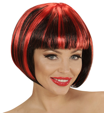 BLACK-RED FASHION STREAKS WIG in polybag