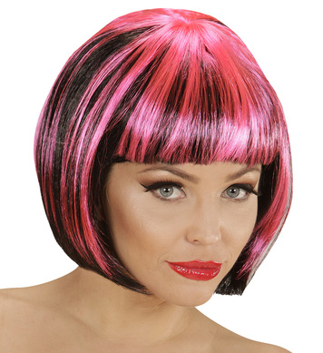 BLACK-PINK FASHION STREAKS WIG in polybag
