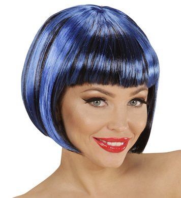BLACK-BLUE FASHION STREAKS WIG in polybag