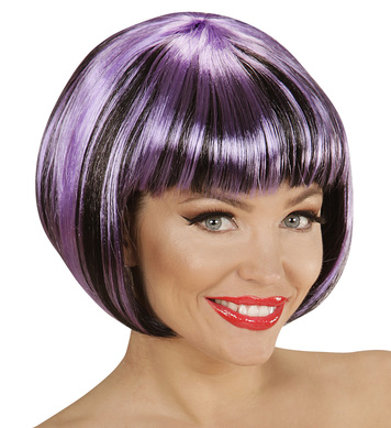 BLACK-PURPLE FASHION STREAKS WIG in polybag