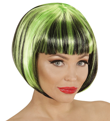 BLACK-GREEN FASHION STREAKS WIG in polybag