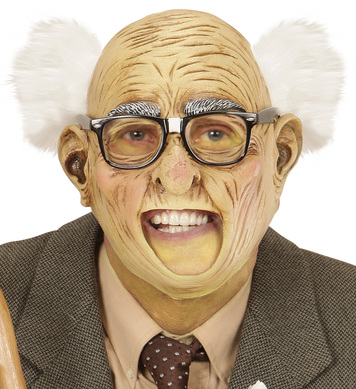 GRANDPA 3/4 OPEN MOUTH MASK W/HAIR (glasses not included)