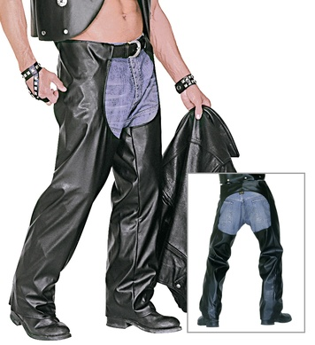 BIKER CHAPS BLACK LEATHERLOOK