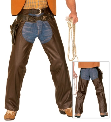 COWBOY CHAPS BROWN LEATHERLOOK