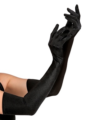 BLACK SPANDEX SATIN GLOVES 60cm