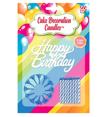 16 HAPPY BIRTHDAY CAKE DECORATION CANDLES & HOLDERS blue