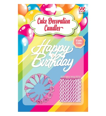 16 HAPPY BIRTHDAY CAKE DECORATION CANDLES & HOLDER pink