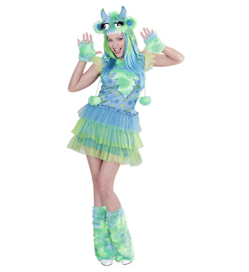 GREEN MONSTER GIRL S (dress h/piece gloves leg warmers)