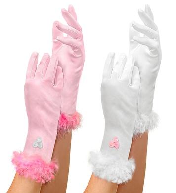 GLOVES GLAMOUR GIRL SATIN pink or white