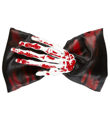 BLOODY SKELETON HAND BOW TIE