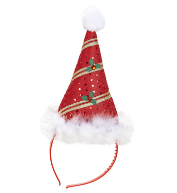 MINI SANTA HAT WITH MARABOU TRIM