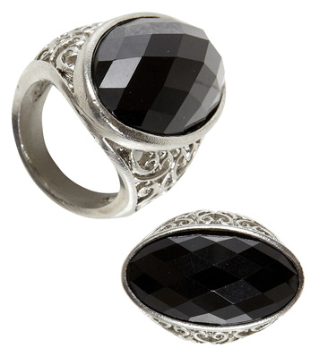 BLACK GEM GOTHIC RING