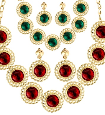 MEDIEVAL QUEEN SET NECKLACE/EARRINGS RED OR GREEN