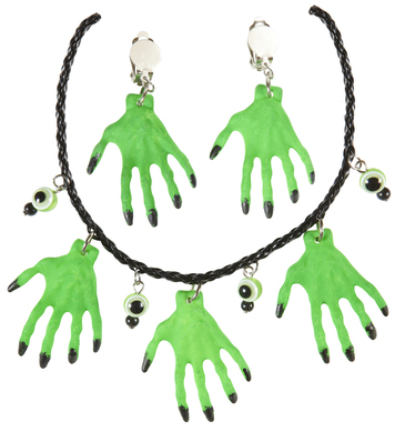 WITCH HANDS NECKLACE AND EARRINGS