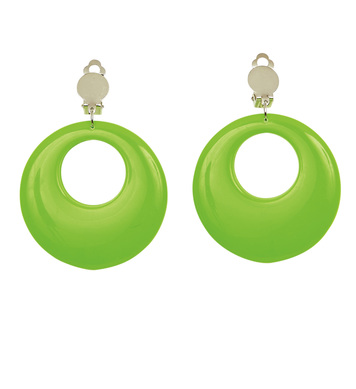 CIRCLE EARRINGS - NEON GREEN