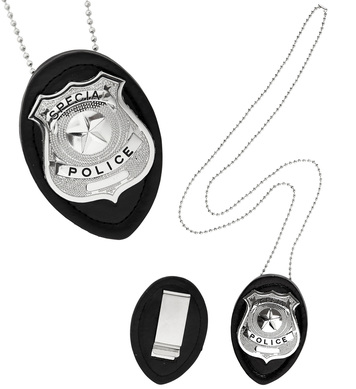CLIP ON POLICE BADGE NECKLACE