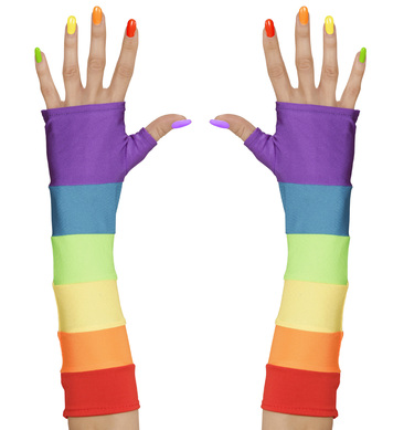 RAINBOW FINGERLESS SATIN GLOVES