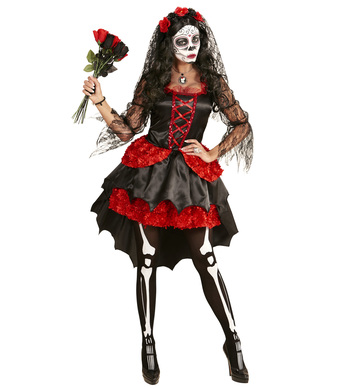 DIA DE LOS MUERTOS BRIDE RED (dress flower veil)