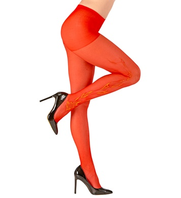 GLITTER FLAME DECO PANTYHOSE RED