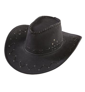 COWBOY HAT SUEDE LOOK - BLACK