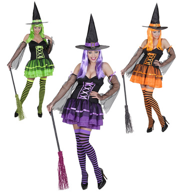 WITCH - green/orange/purple (dress armbands hat)