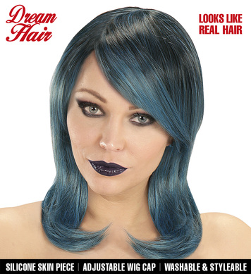 BLACK-BLUE-GREEN MEGAN DREAM HAIRWIG in colour box