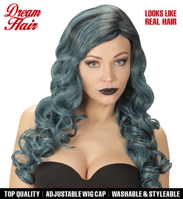 BLACK-BLUE-GREEN RIHANNA DREAM HAIR WIG in colour box
