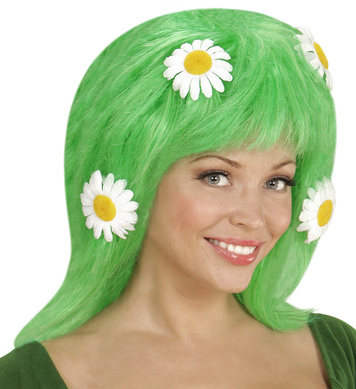 MOTHER NATURE GREEN WIG W/DAISY FLOWERS