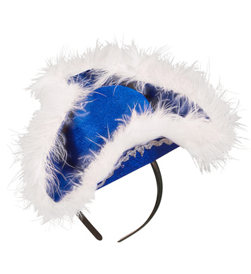 Felt BLUE MINI TRICORN WITH MARABOU TRIM