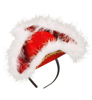 Felt RED MINI TRICORN WITH MARABOU TRIM