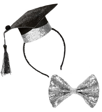 GRADUATE SET (mini graduate hat on h/band & glitter bow tie