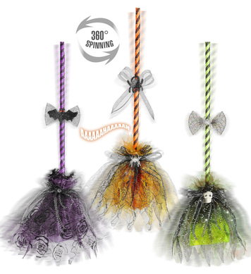 WITCH BROOM W/SPINNING MOTION,SOUNDS & LAUGHTER 73cm 3 cols