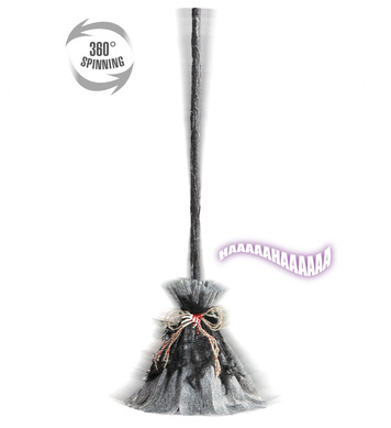 ANIMATED WITCH BROOM W/SPINNING MOTION, SOUNDS 73cm