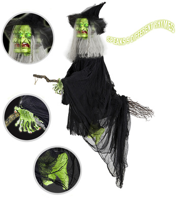 ANIMATED/TALKING WITCH W/TURNING HEAD & FLASHING EYES 155cm