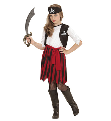 PIRATE GIRL (dress with vest, belt, headpiece) Childrens