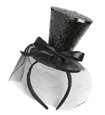 BLACK GLITTER MINI TOP HAT (headband)