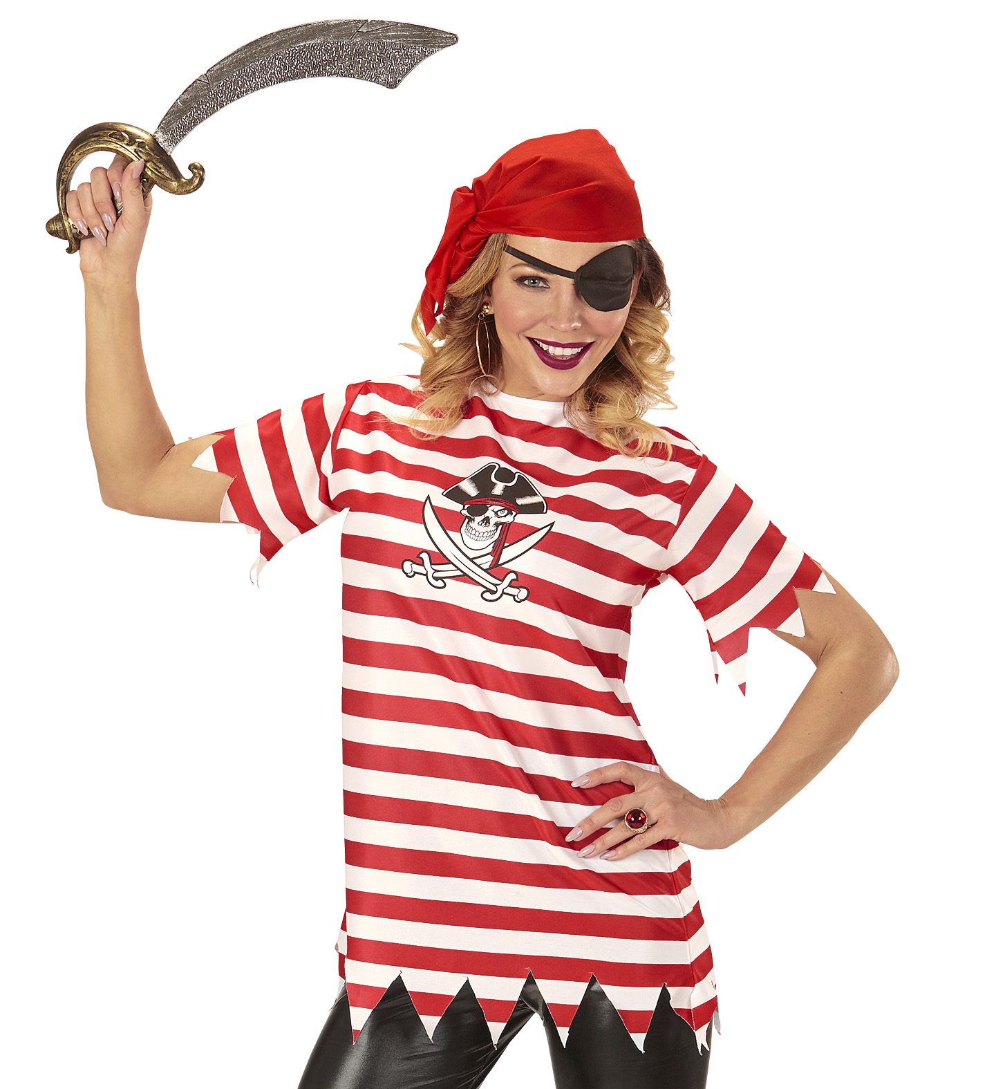 Striped Pirate Girl T-Shirt Pirate Fancy Dress