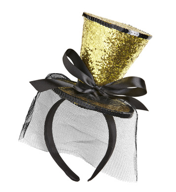 GOLD GLITTER MINI TOP HAT (headband)
