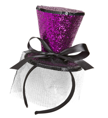 HOT PINK GLITTER MINI TOP HAT  (headband)
