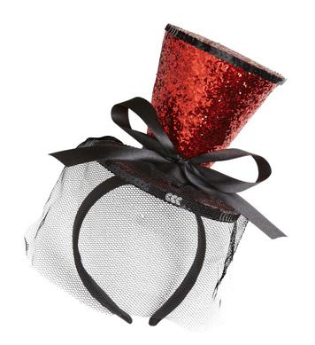 RED GLITTER MINI TOP HAT  (headband)