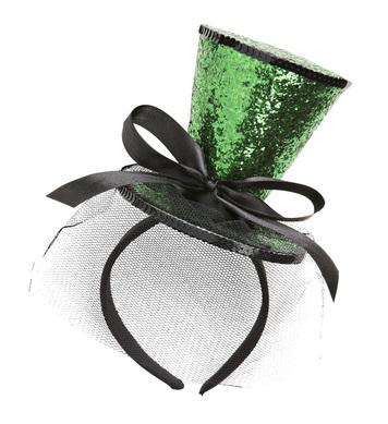 GREEN GLITTER MINI TOP HAT (headband)