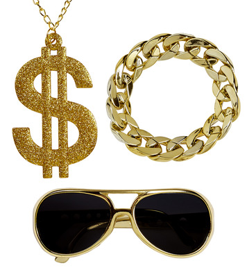 RAPPER (gold sunglasses,gold dollar necklace,gold b/let)
